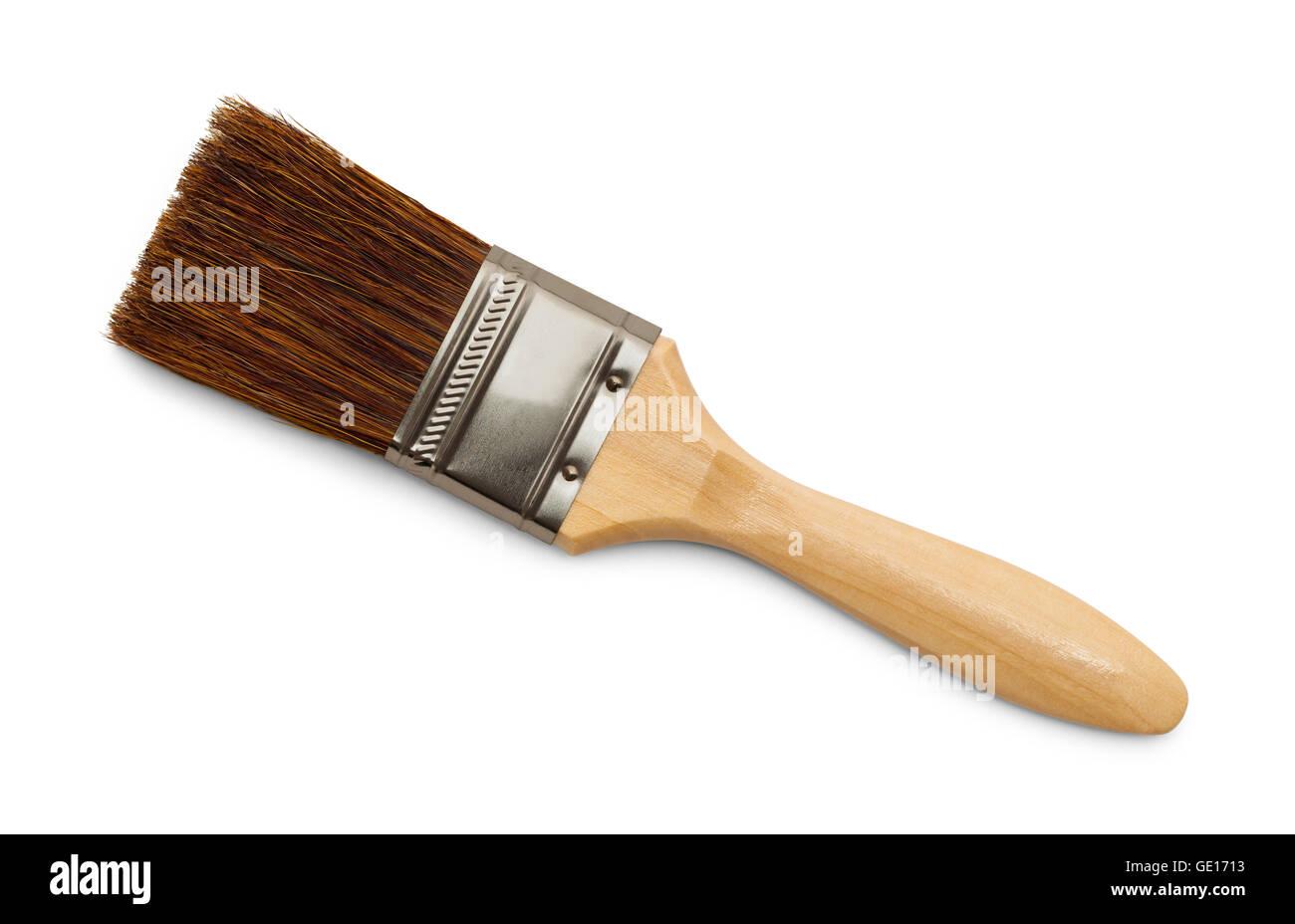Horse Hair Bristle Paint Brush Isolated on White Background. - Stock Image