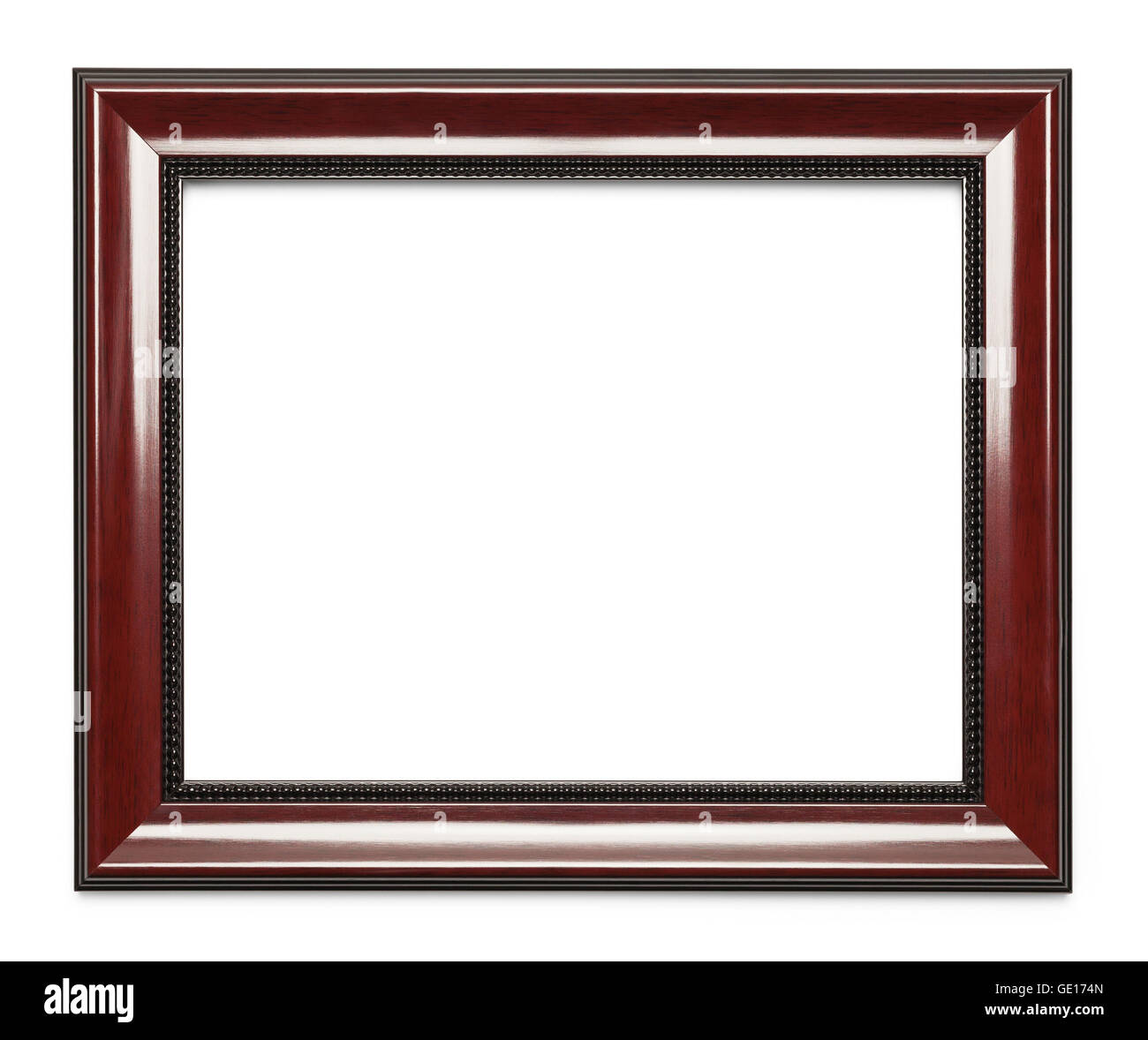 High Polished Professional Wood Frame Isolated on White Background. - Stock Image