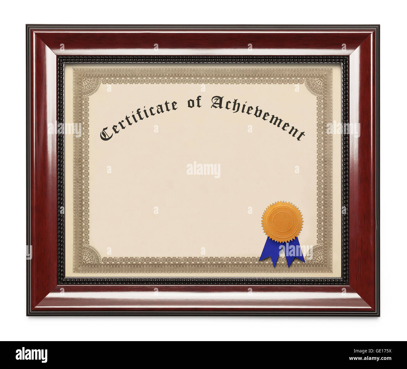 Framed Certificate of Achievement with Copy Space Isolated on White Background. - Stock Image