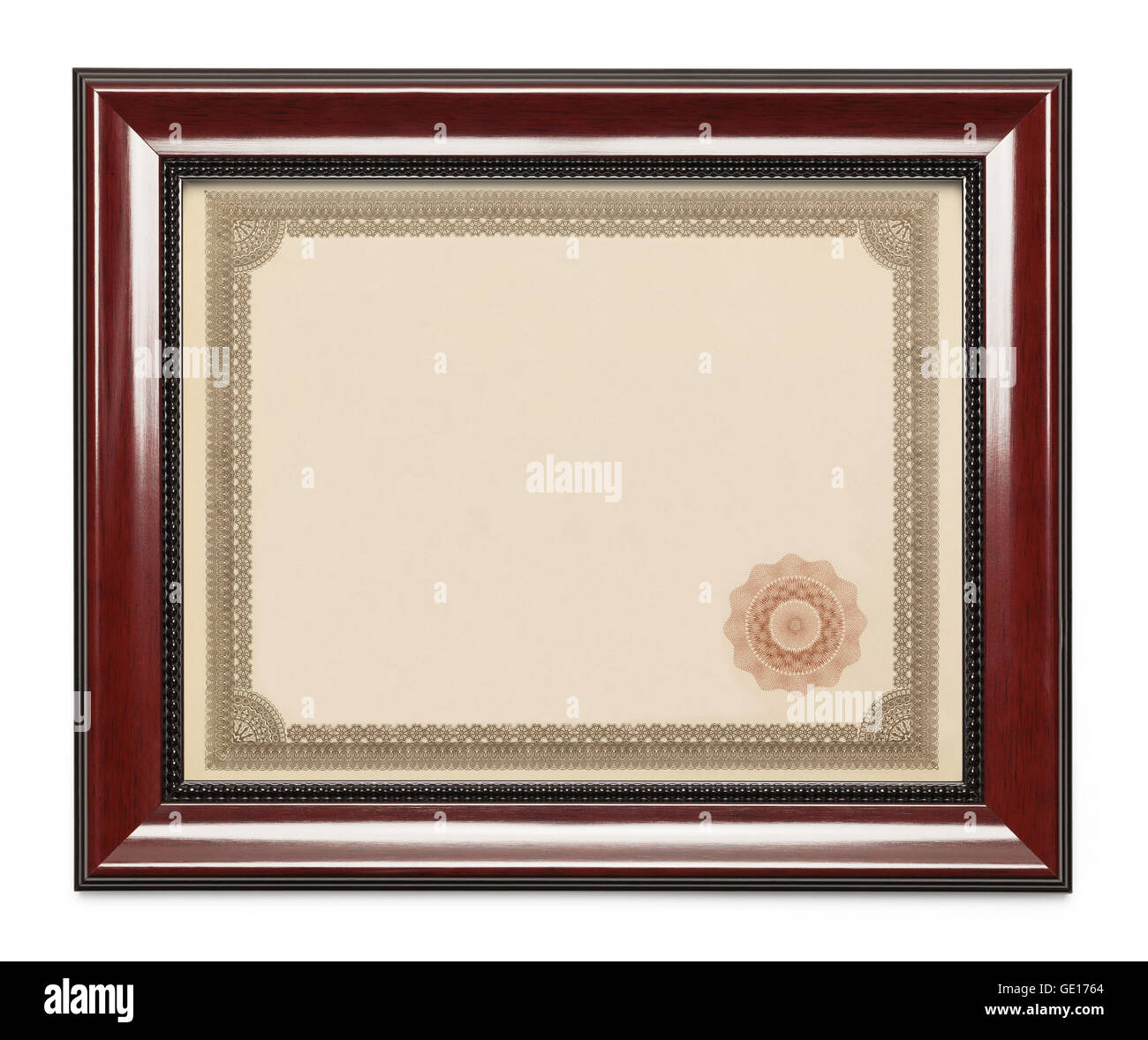 Framed Award Certificate with Copy Space Isolated on White Background. - Stock Image