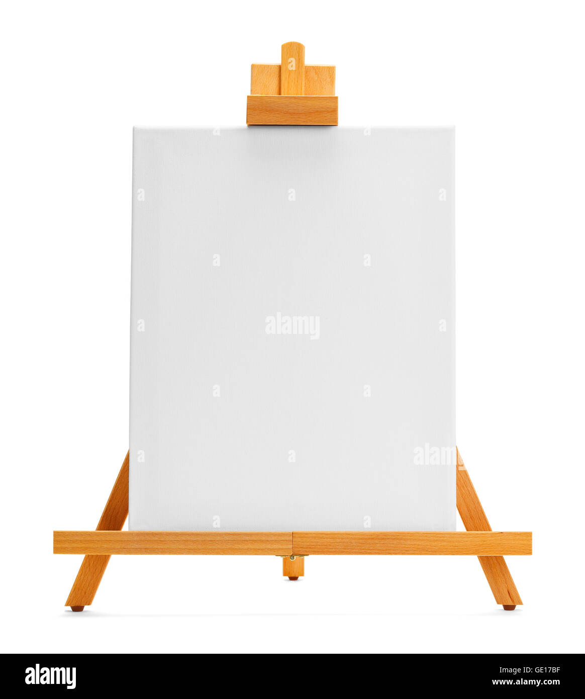 Painting Canvas and Easel with Copy Space Isolated on White Background. - Stock Image