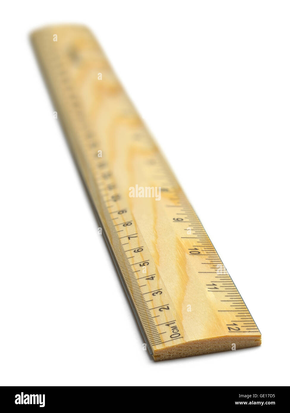 Wooden School Ruler with Inches and Millimeters Isolated on White Background. - Stock Image