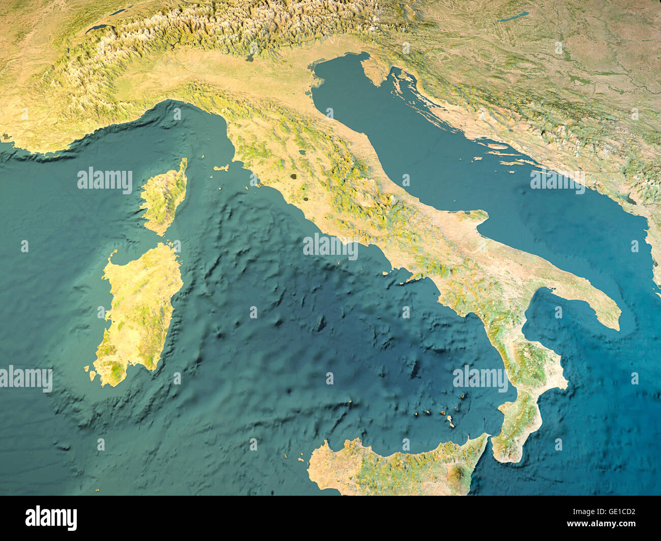 Italy physical map satellite view map 3d rendering Stock Photo