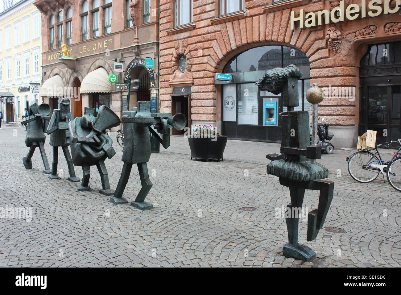 The Optimists Orchestra sculpture at Sodergatan street in Malmö, Sweden - Stock Image