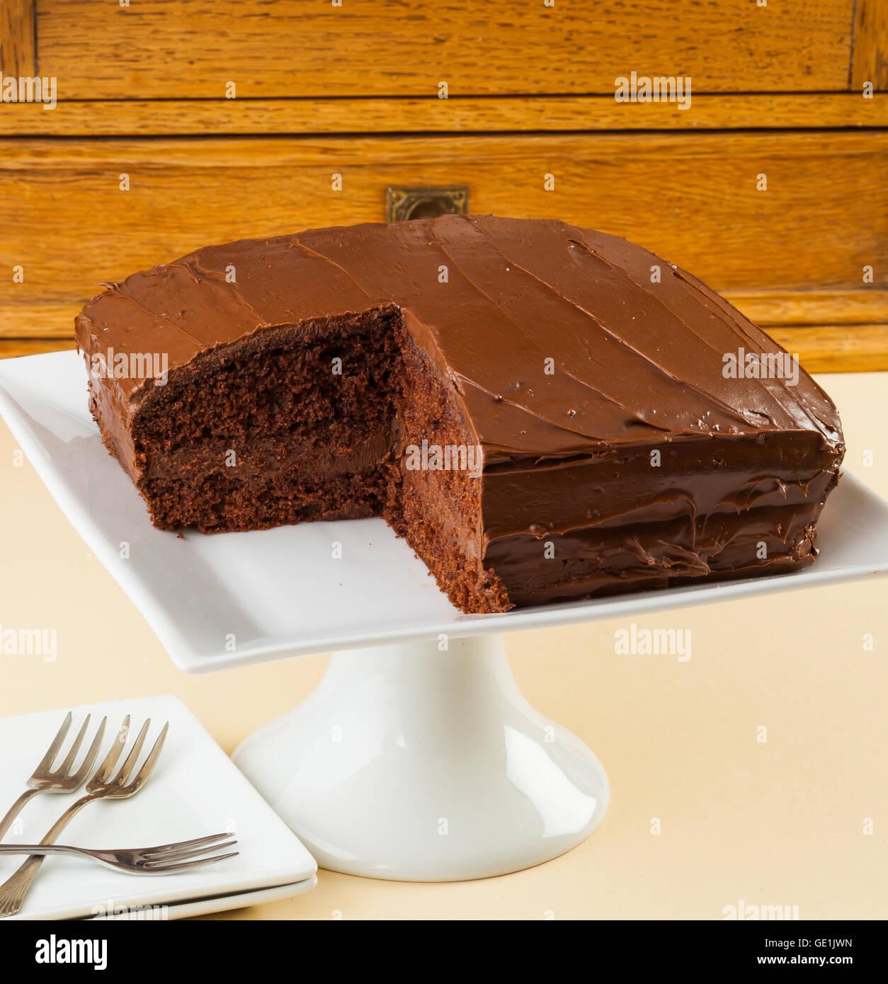 Australian chocolate layer cake. - Stock Image