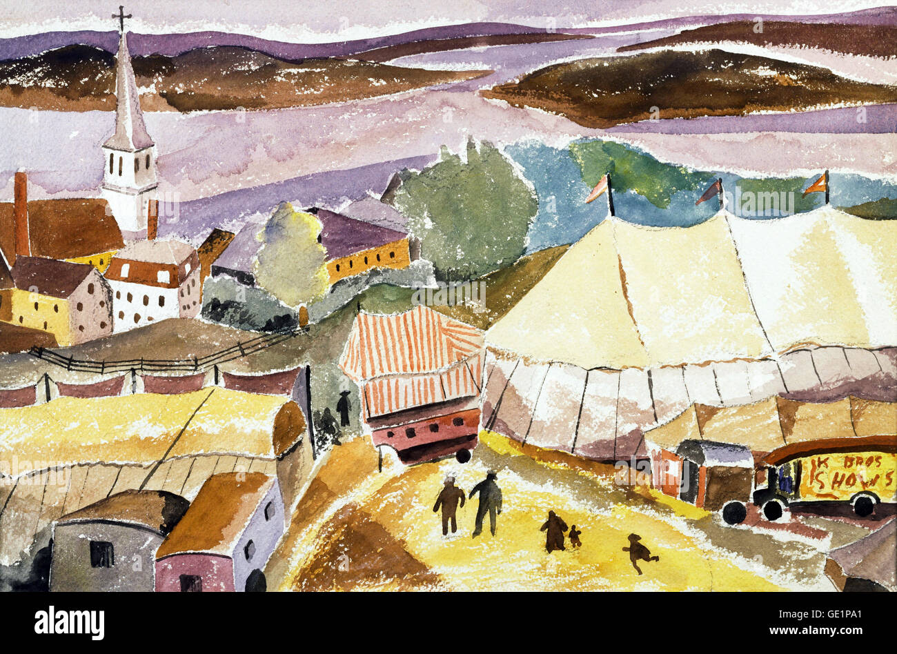 Hugh Collins, The Circus Comes to Treport. Undated. Watercolor on paper. The Phillips Collection, Washington, D.C., - Stock Image