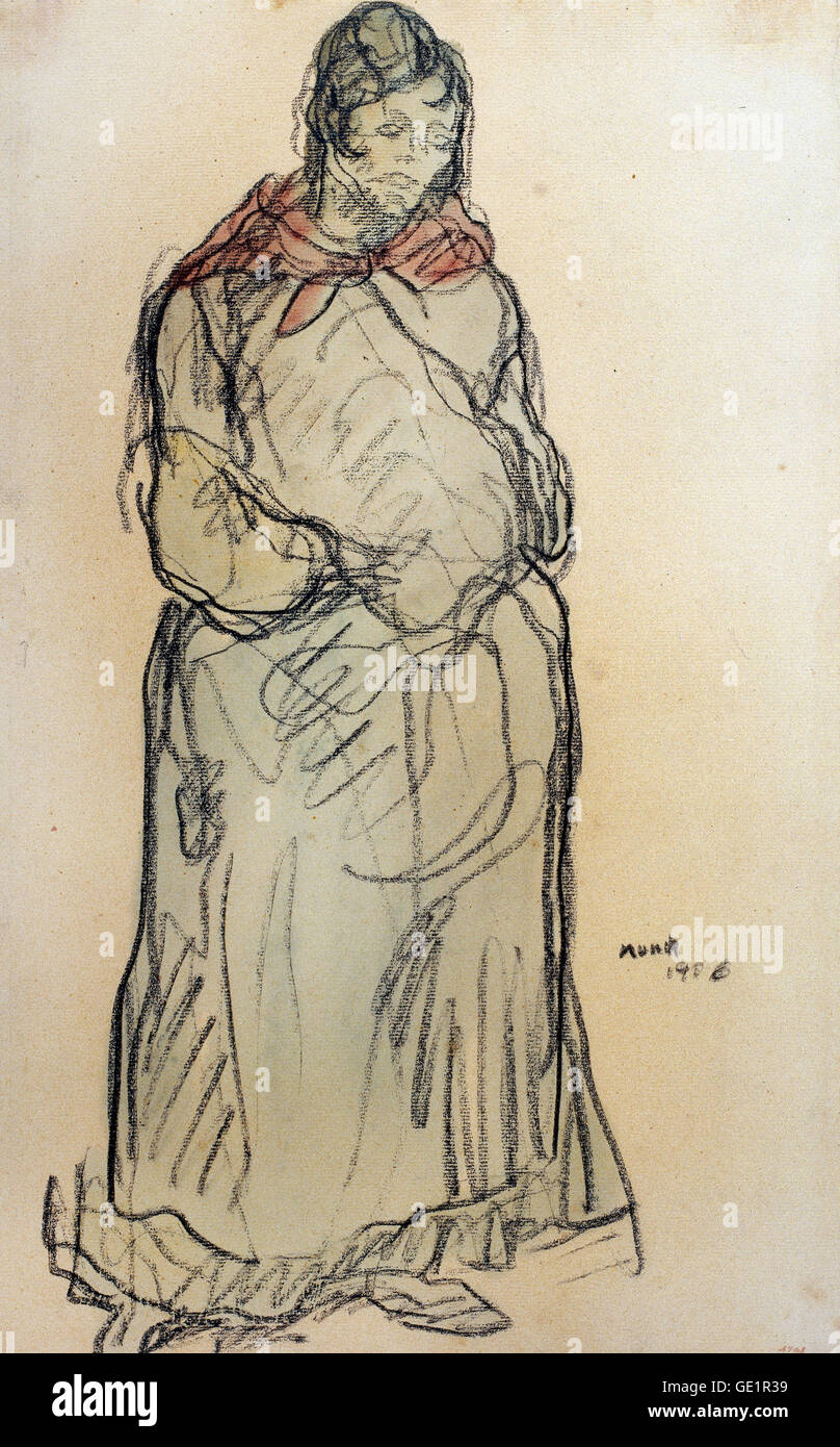 Isidre Nonell, Gypsy Standing 1906 Drawing, pencil and watercolor on paper. Museu Nacional d'Art de Catalunya, - Stock Image