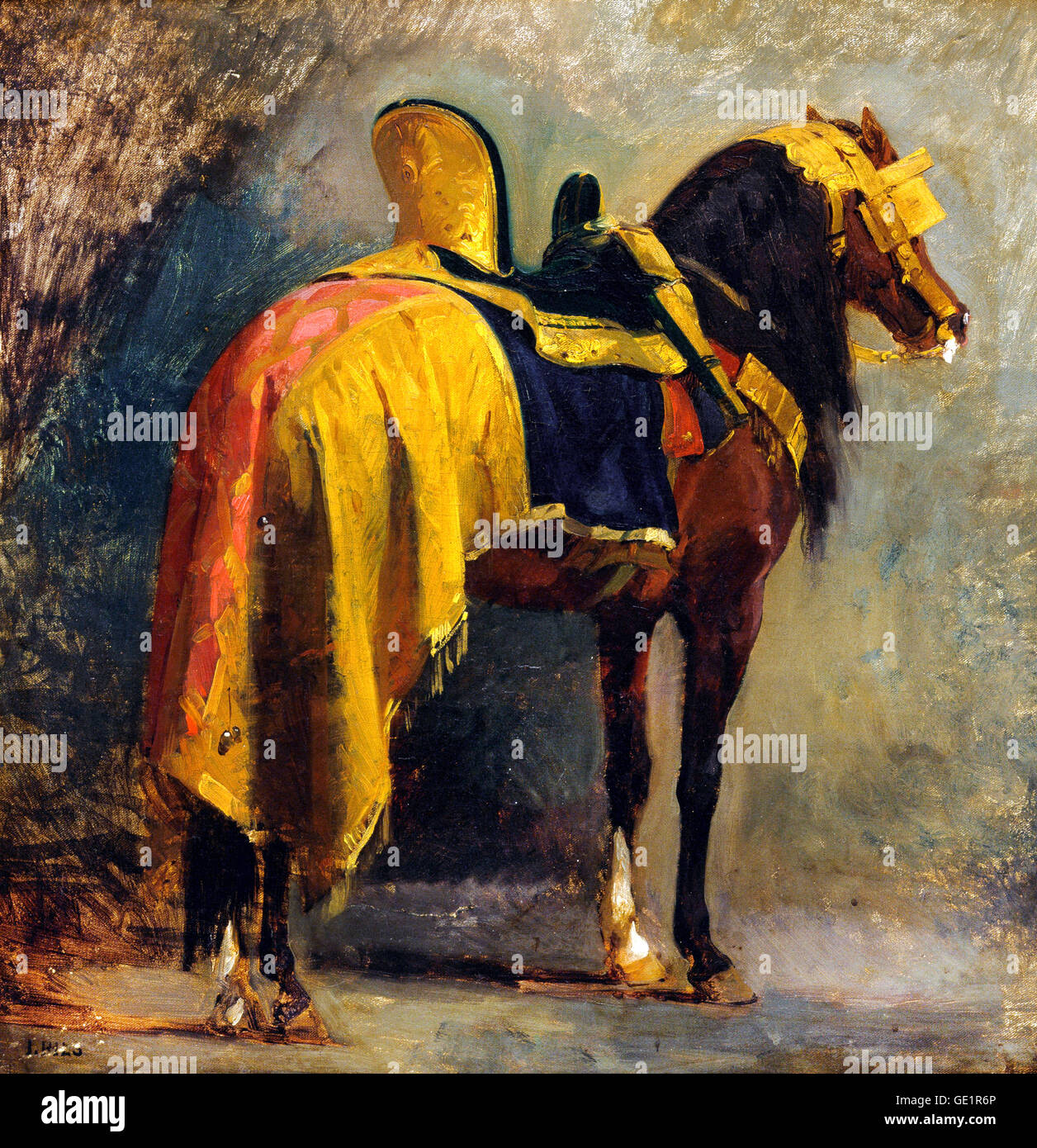 Isidore Pils, Horse Caparisoned. Circa 1860. Oil on canvas. Art Gallery of New South Wales, Sydney, Australia. - Stock Image