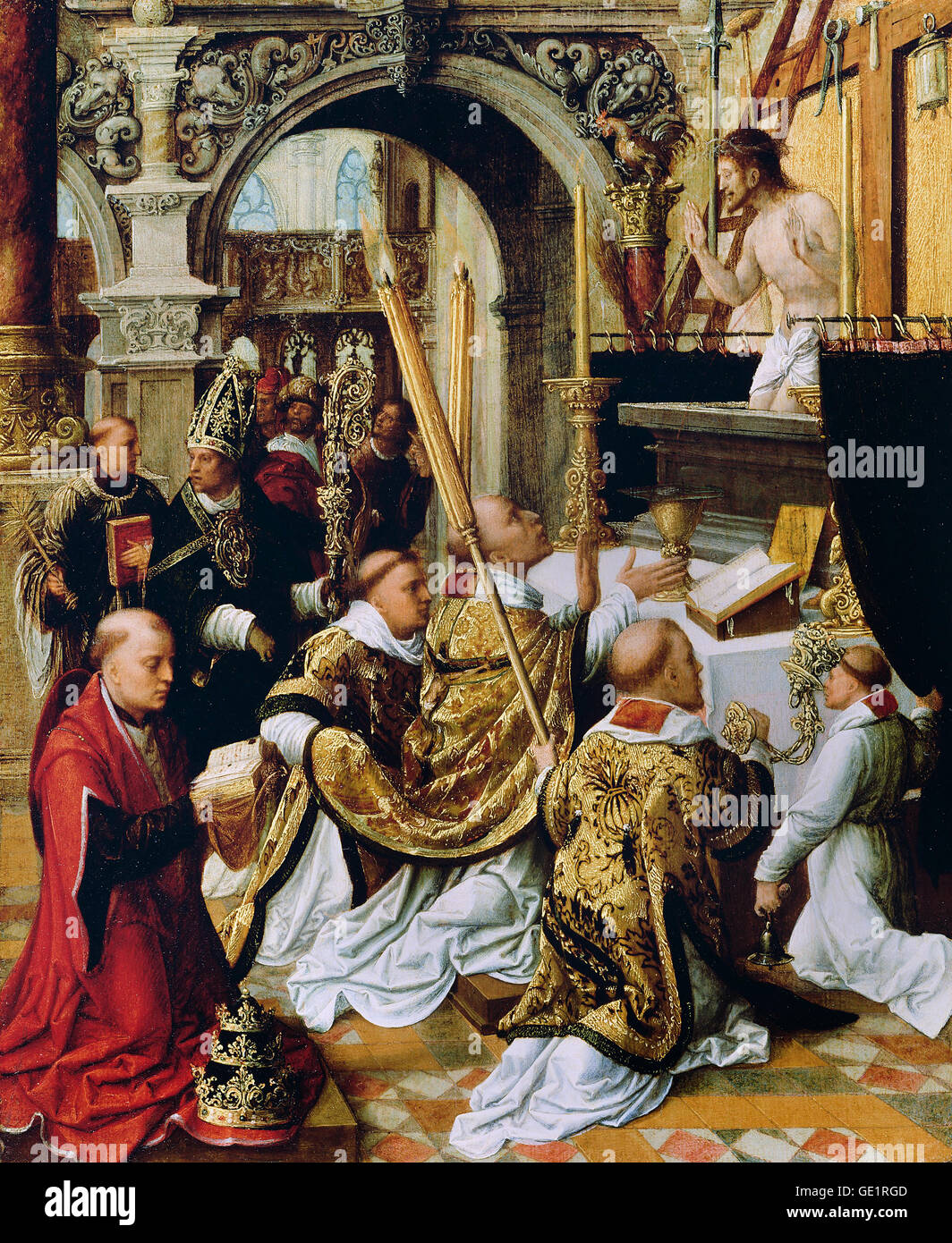 Adriaen Ysenbrandt, The Mass of Saint Gregory the Great. Circa 1510-1550. Oil on panel. Getty Center, Los Angeles, - Stock Image