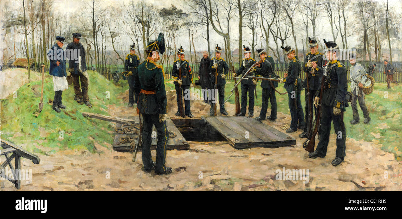 Isaac Israels, Military Funeral 1882 Oil on canvas. Gemeentemuseum Den Haag, The Hague, Netherlands. - Stock Image