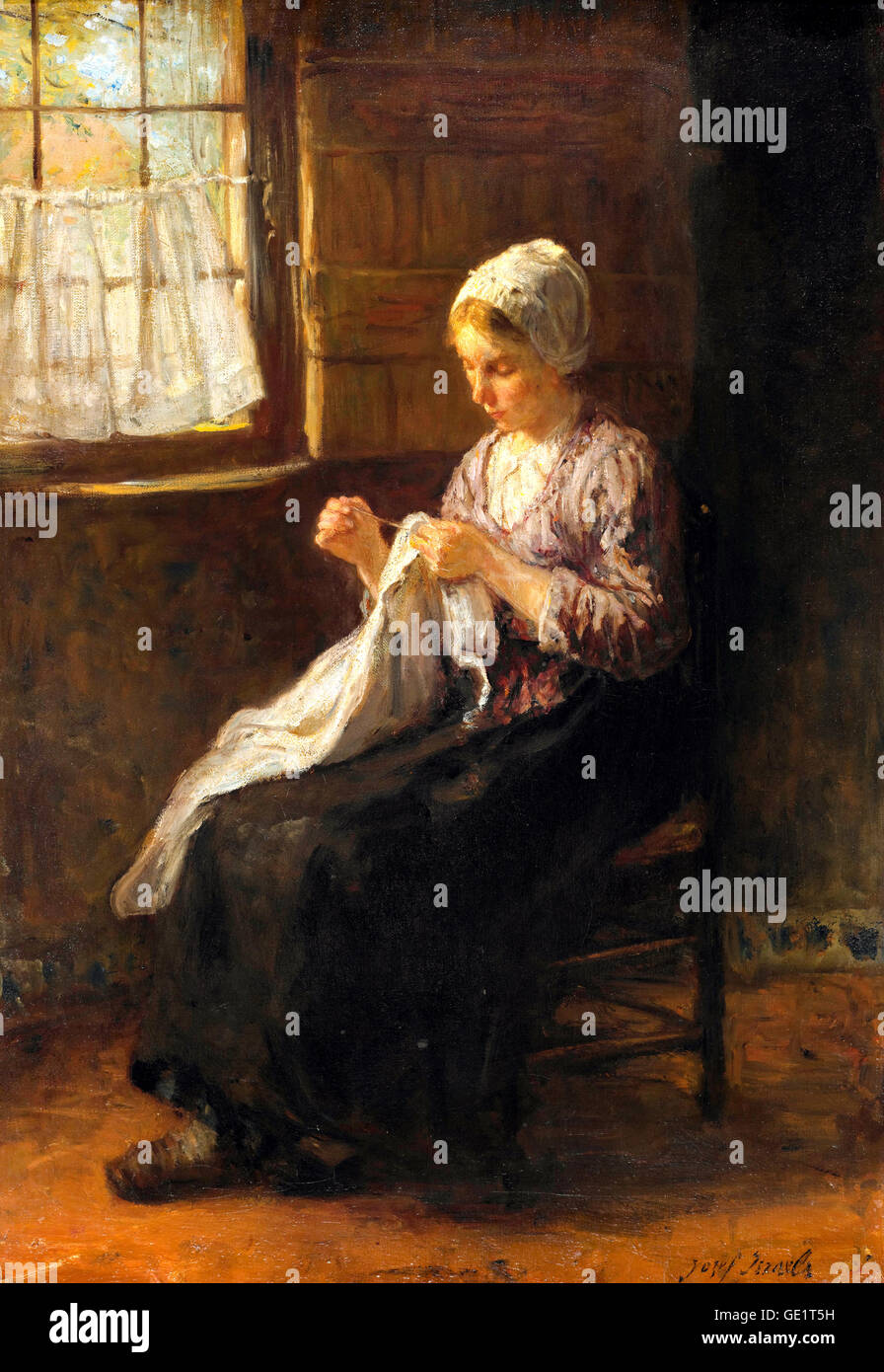 Jozef Israels, The Young Seamstress. Circa 1880. Oil on canvas. Gemeentemuseum Den Haag, The Hague, Netherlands. - Stock Image