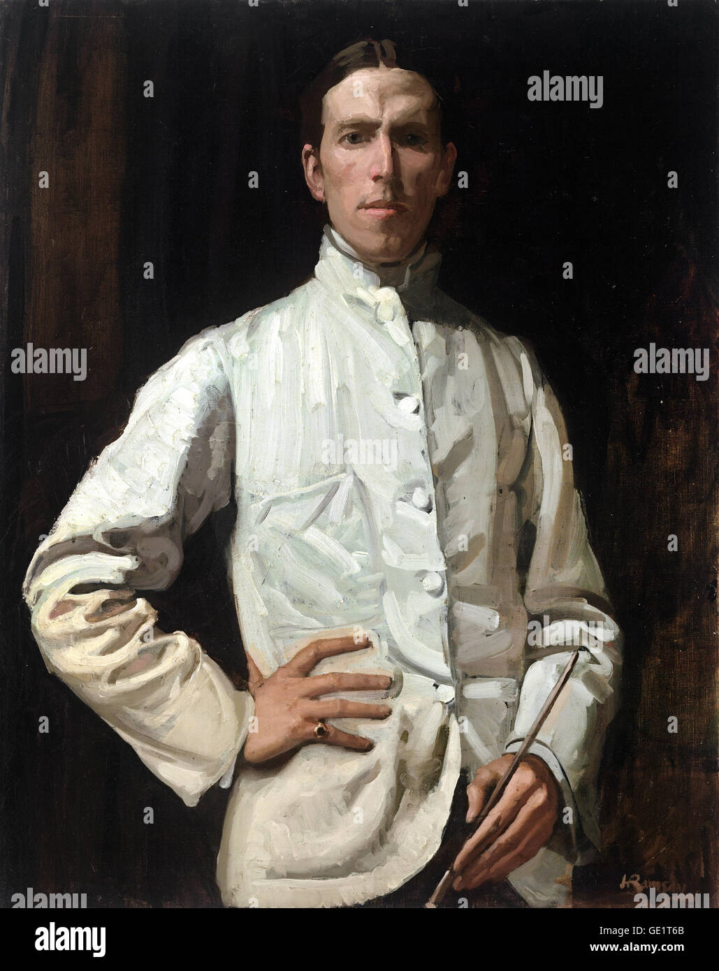 Hugh Ramsay, Self-portrait in White Jacket 1901-1902 Oil on canvas. National Gallery of Victoria, Australia. - Stock Image