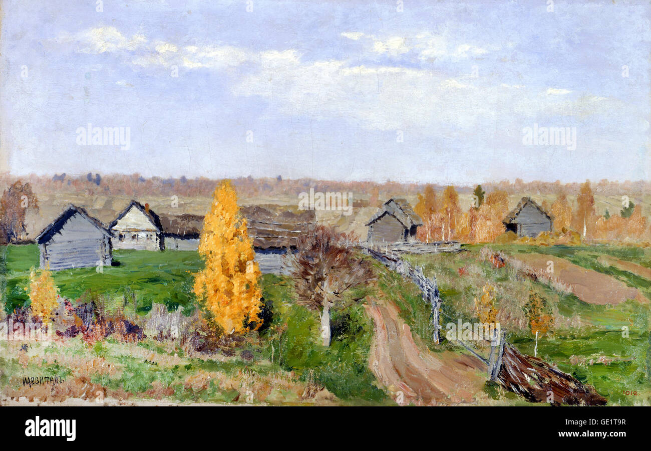 Isaac Levitan, Golden autumn. Slobodka 1889 Oil on canvas. State Russian Museum, Saint Petersburg, Russia. - Stock Image