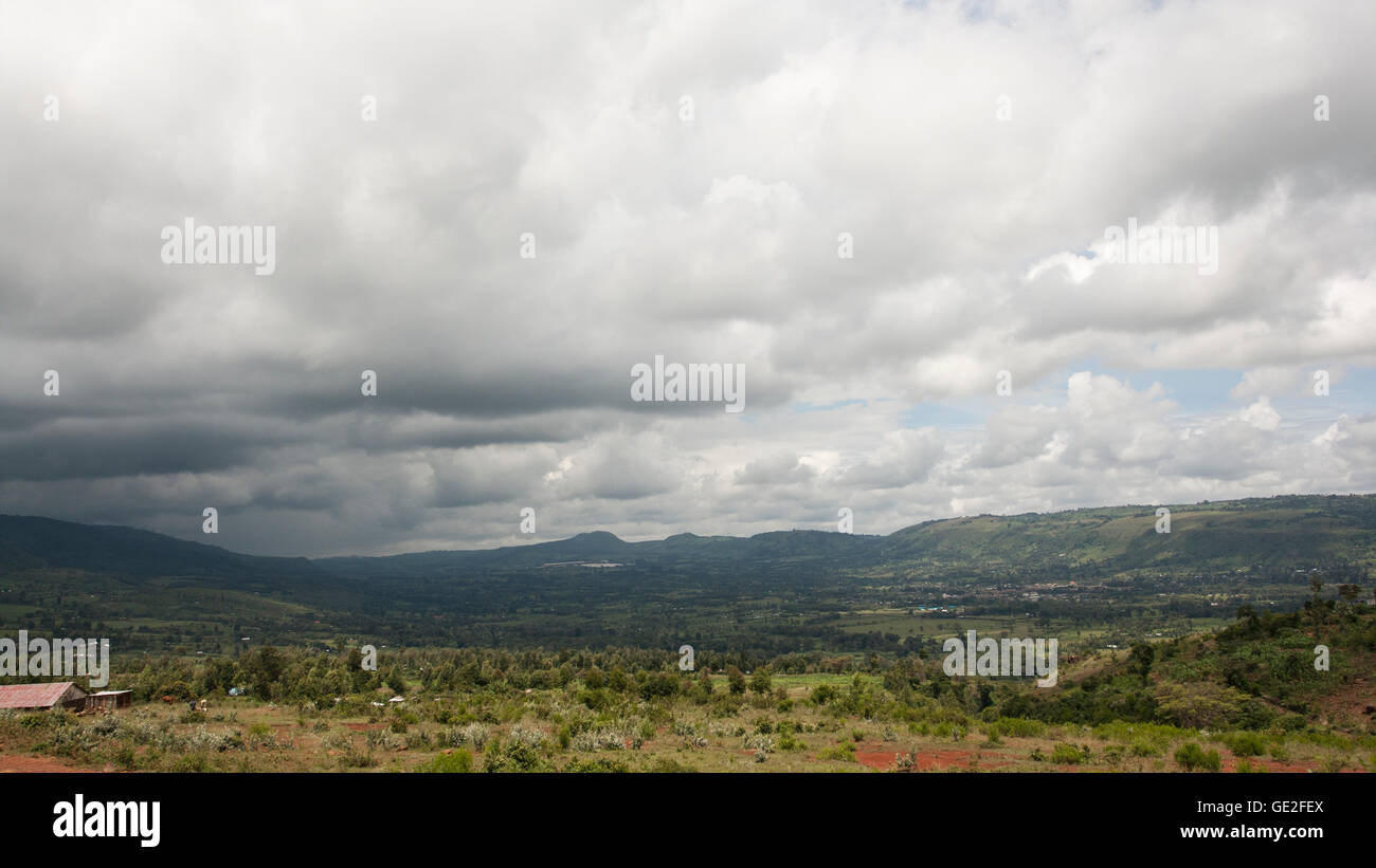 The Great Rift Valley is a name given to the continuous geographic trench, approximately 6,000 kilometres in length, Stock Photo