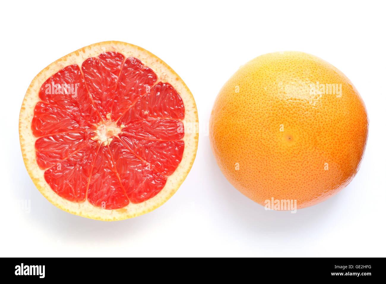 pink grapefruit slice isolated #2 - Stock Image