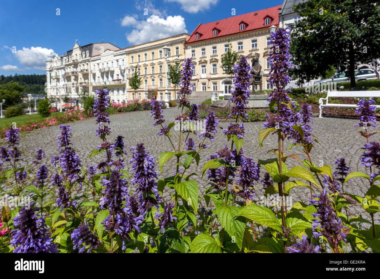 Goethe Square, Marianske Lazne, Czech Spa town, Czech Republic - Stock Image