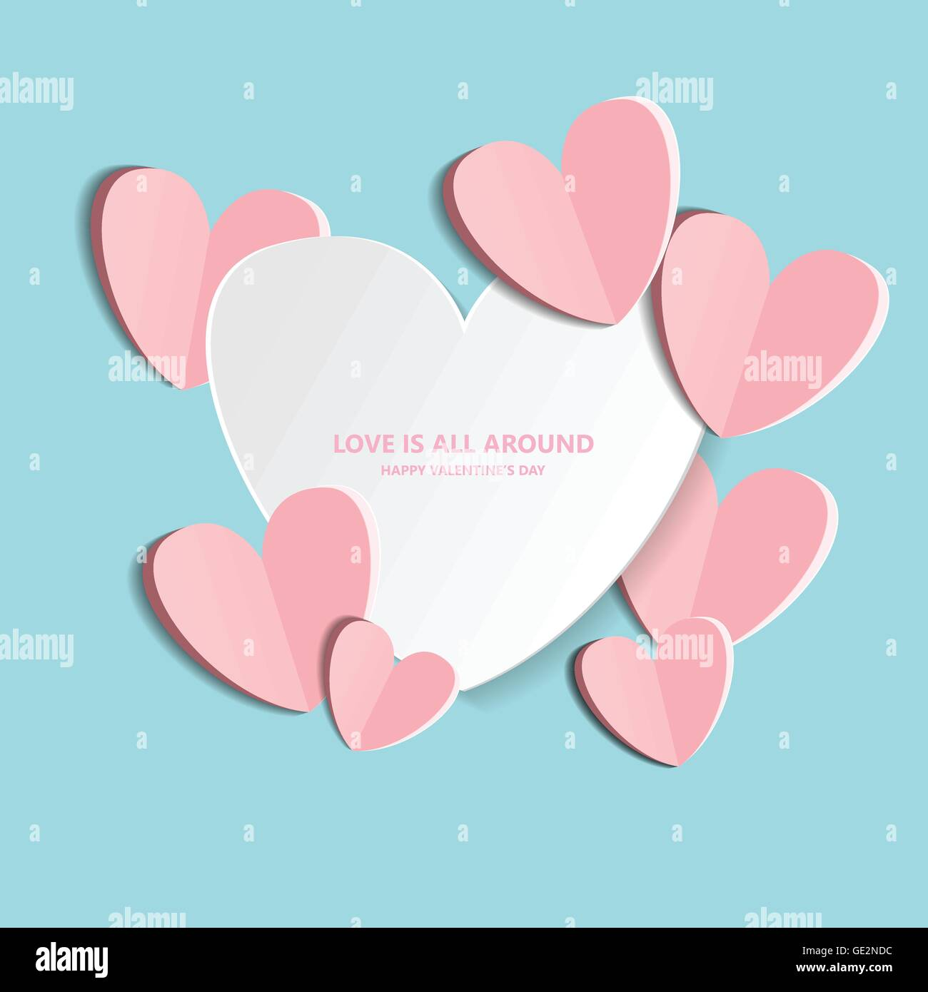 Symbol Of Love On Sweet Blue Background Greeting Card Flat Design