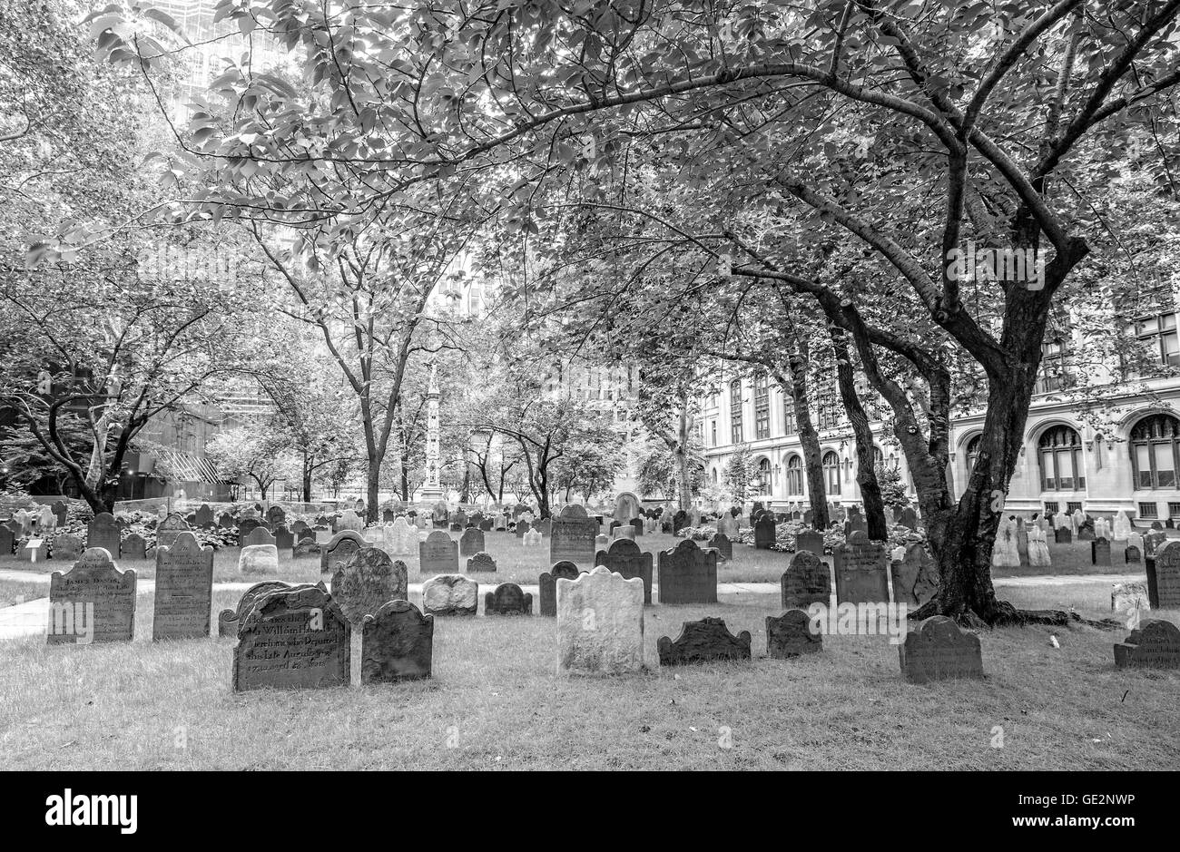 Black and white picture of gravestones in Trinity Church Cemetery. - Stock Image