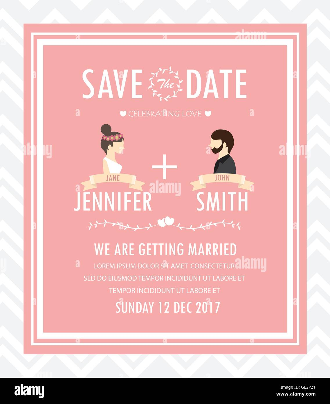 Wedding Invitation Card Bride And Groom Dress Concept Love And