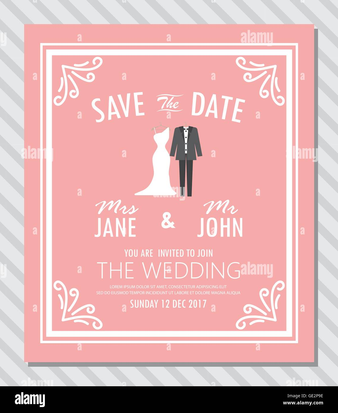 wedding invitation card. cute bride and groom concept. can be use ...