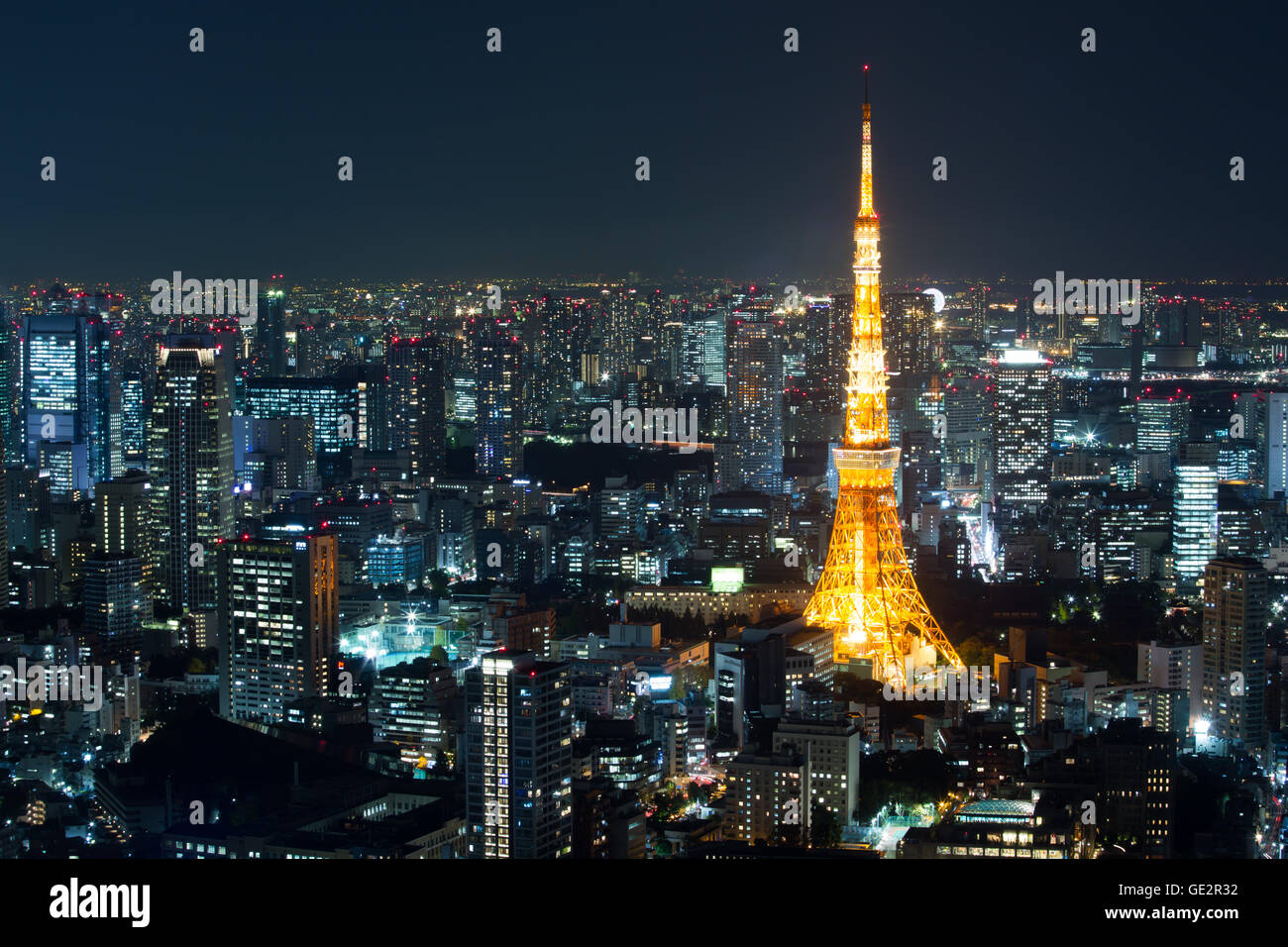 Top View Of Tokyo Cityscape At Night Time, Japan Stock