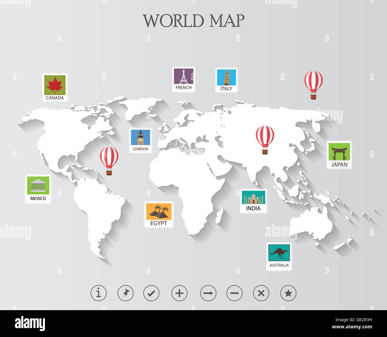 world map and infographics elements can be used for workflow stock
