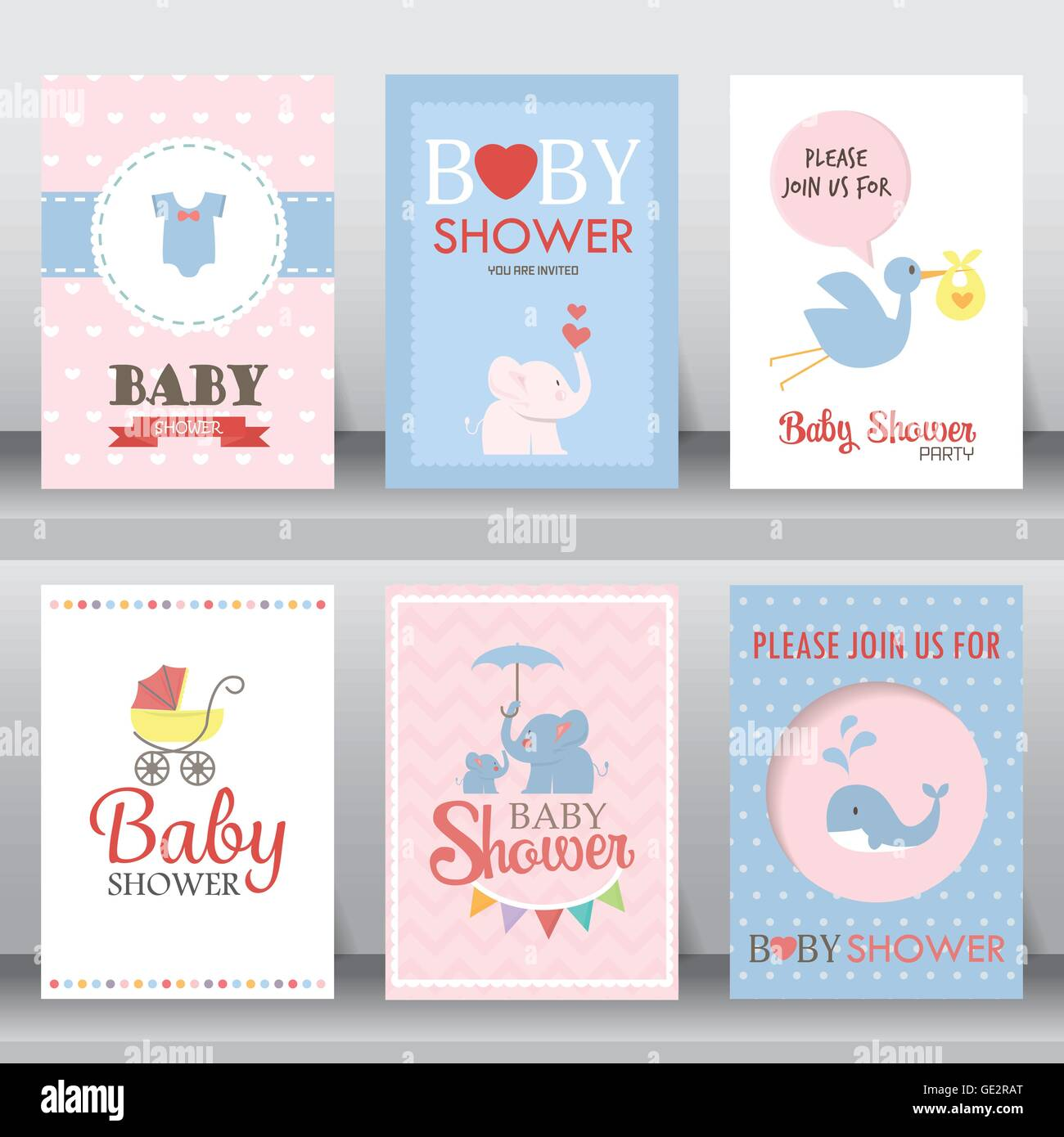 Baby Shower Karte Text.Baby Shower Party Greeting And Invitation Card Layout