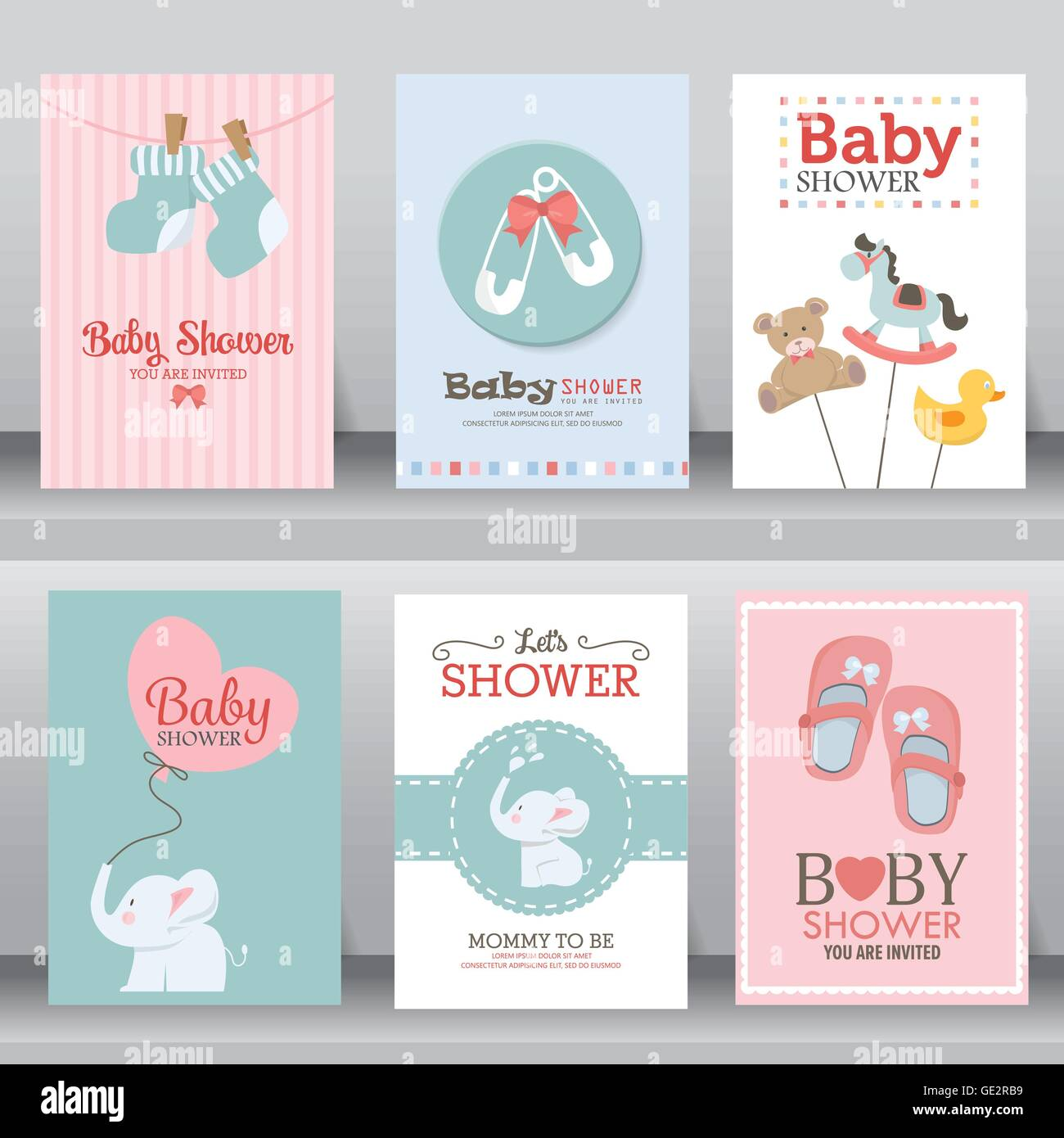 Baby shower party greeting and invitation card layout template in baby shower party greeting and invitation card layout template in a4 size vector illustration stopboris Choice Image