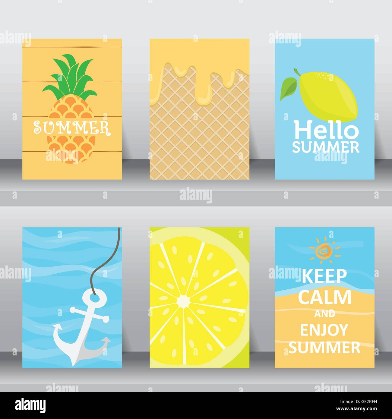 Summer, Holiday, Vacation Poster Set. Flat Design. Can Be Use For Greeting  And Invitation Card. Background , Backdrop. Layout