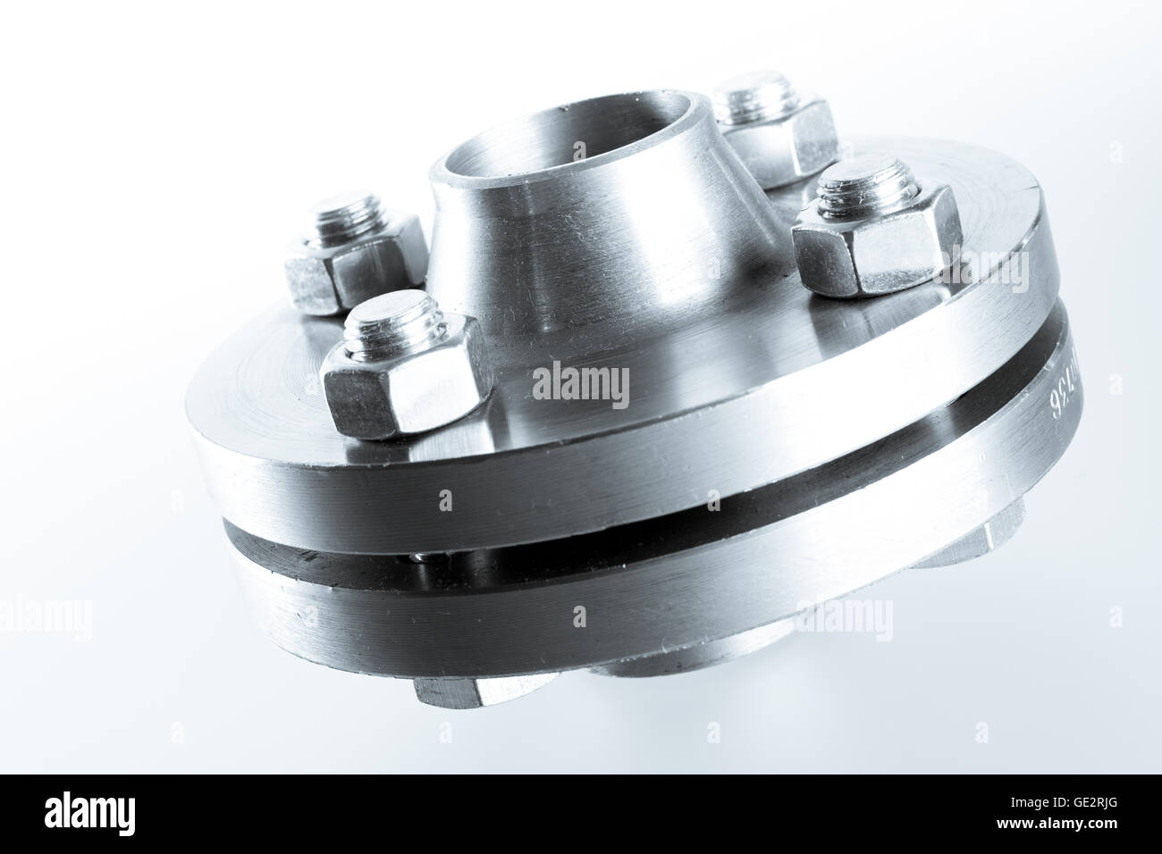 Two neck flanges connected together and bolted - isolated. - Stock Image