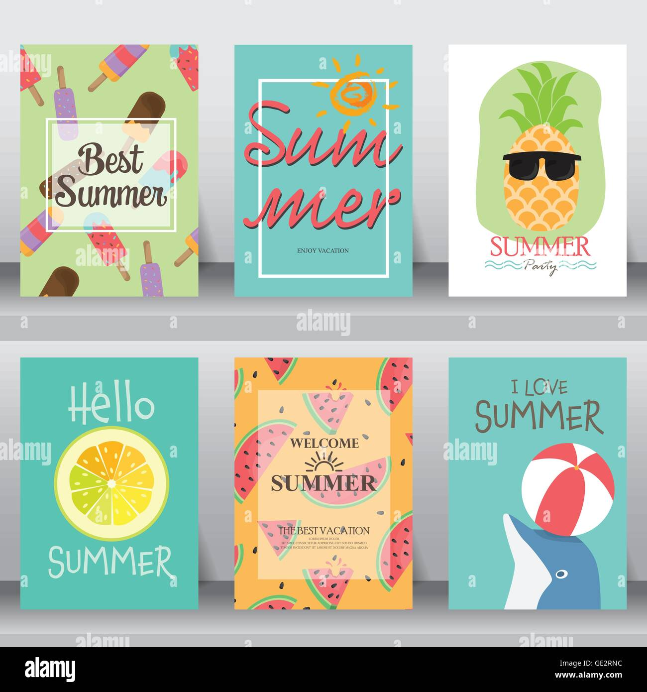 Summer Holiday Vacation Poster Set Flat Design Can Be Use For Greeting And Invitation Card Background Backdrop Layout