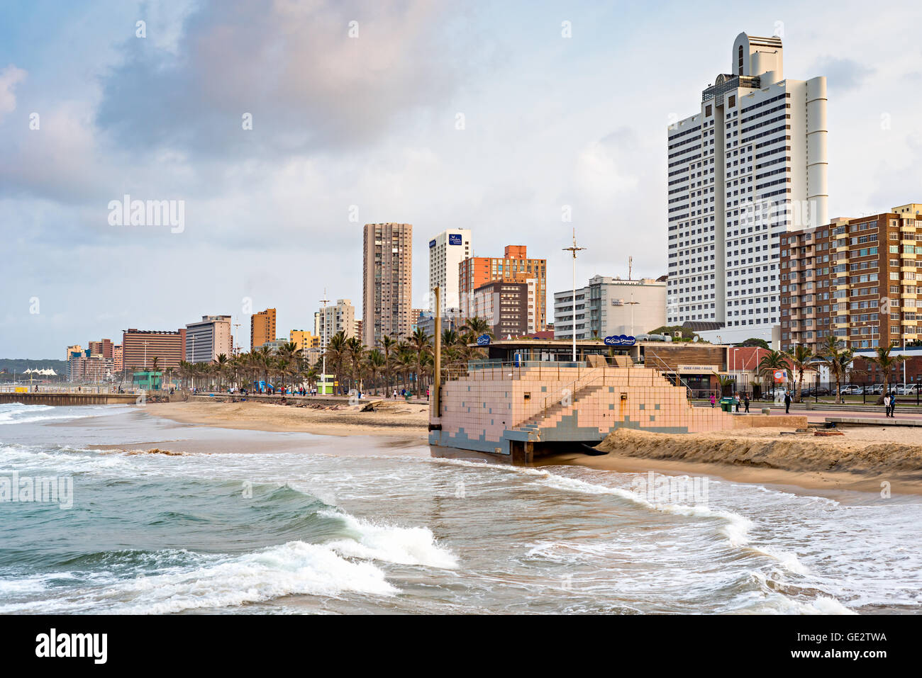 DURBAN, SOUTH AFRICA - AUGUST 17, 2015: The Golden Mile promenade from the pier at North Beach - Stock Image