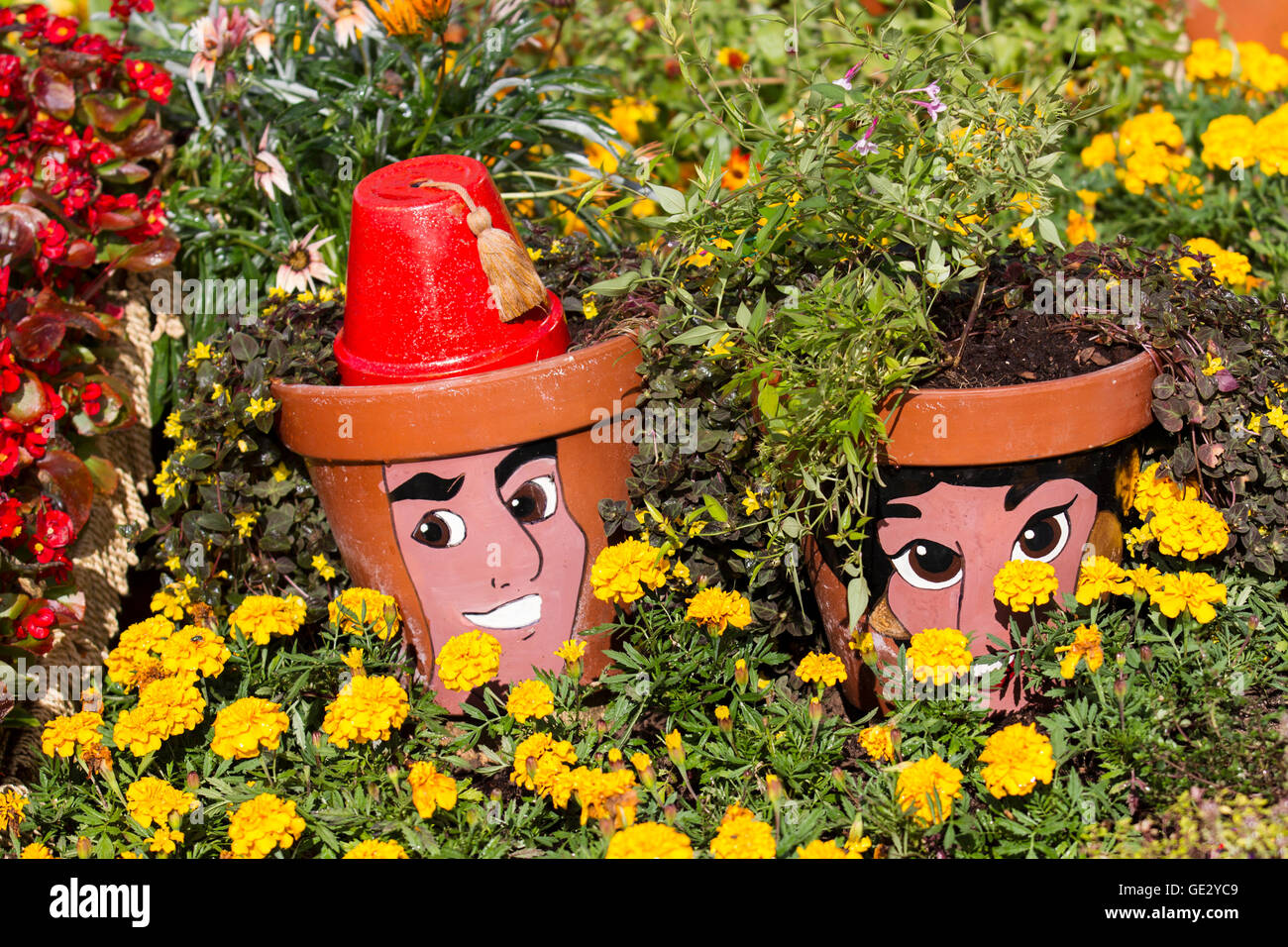 Painted Faces On Plant Pots In A Flowerbed Ot Marigolds. RHS Royal  Horticultural Society 2016 Flower Show At Tatton PARK, Knutsford, UK