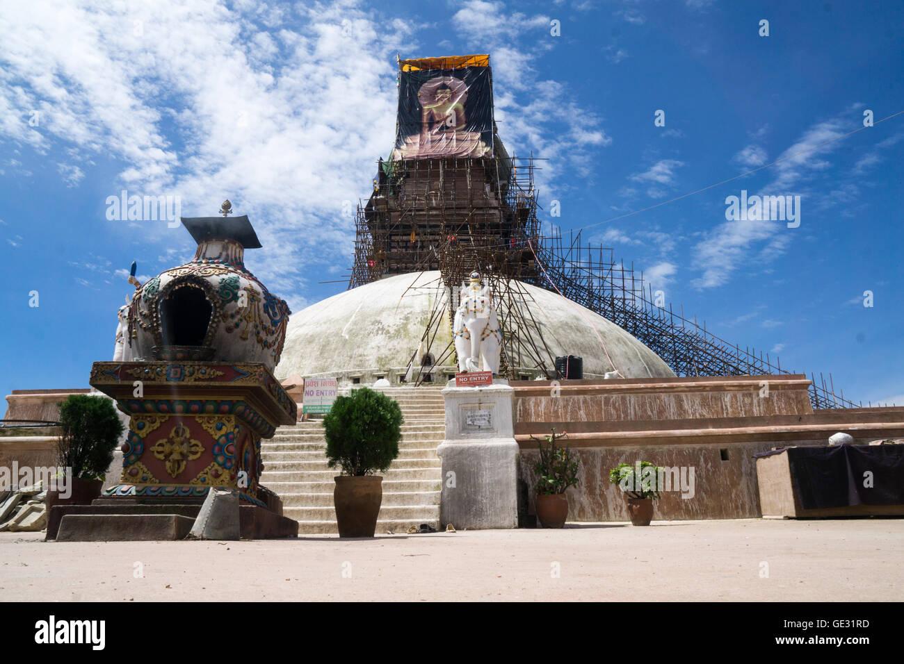 Renovation of the Bodnath Stupa - Stock Image
