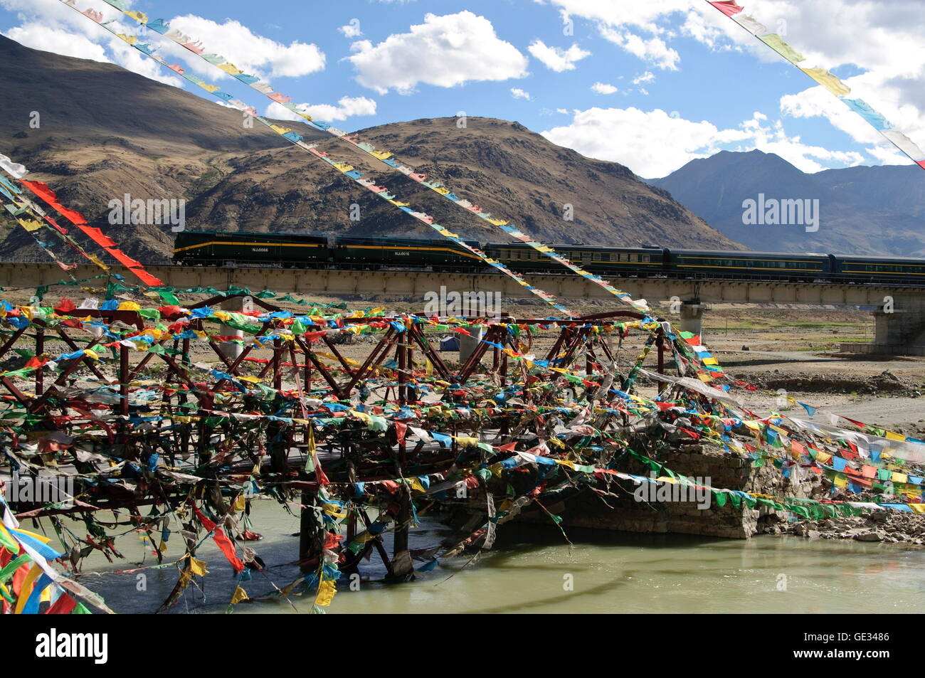 geography / travel, China, Tibet, Tsurphu, Qinghai-Tibet Railway, Additional-Rights-Clearance-Info-Not-Available - Stock Image