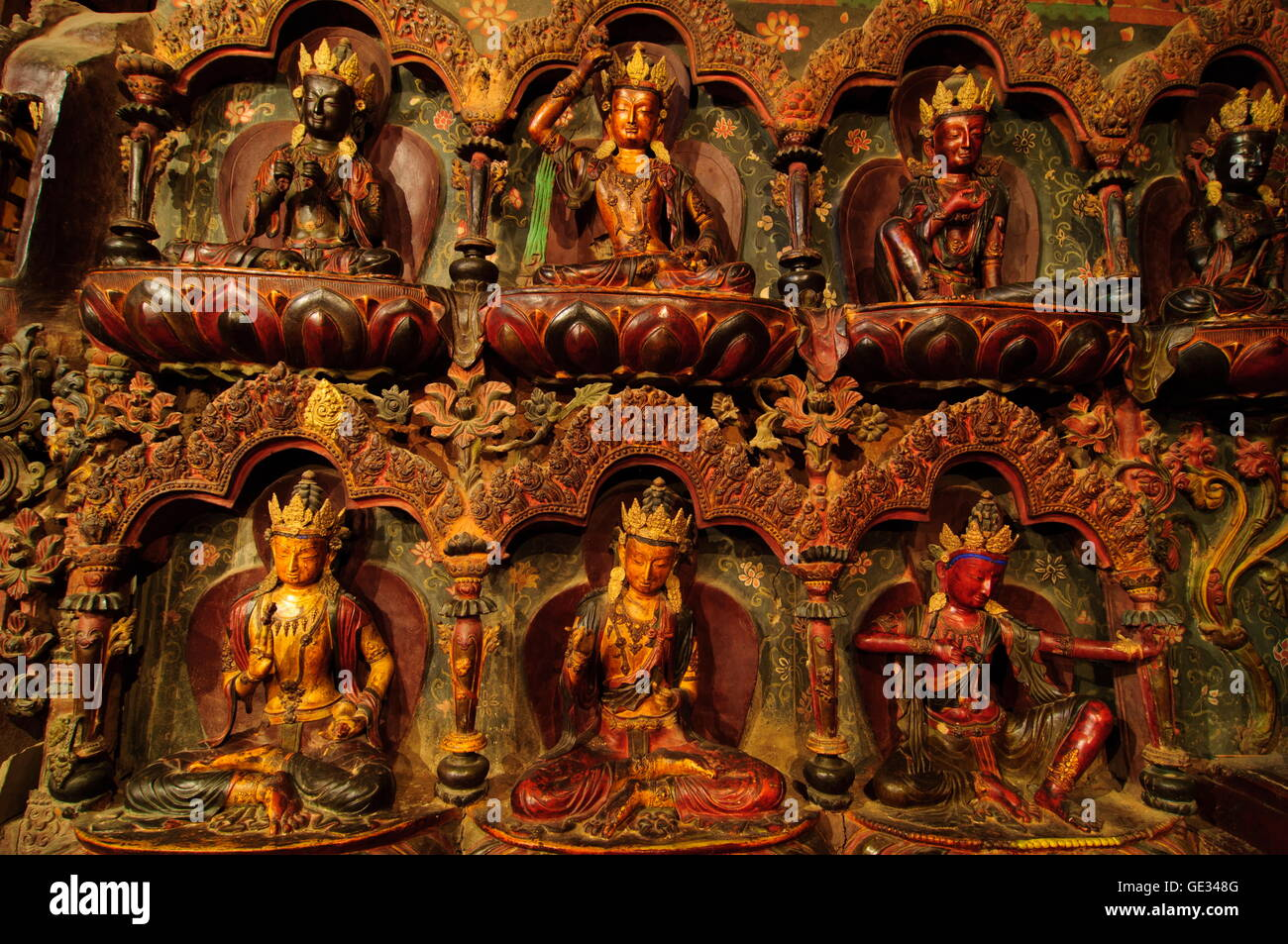 geography / travel, China, Tibet, Gyantse, statues of Buddha, Additional-Rights-Clearance-Info-Not-Available - Stock Image