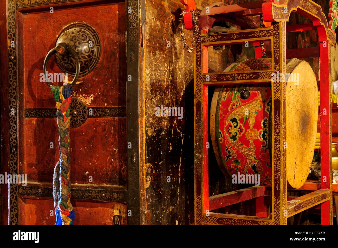 geography / travel, China, Tibet, Gyantse, drum for prayers, Additional-Rights-Clearance-Info-Not-Available - Stock Image
