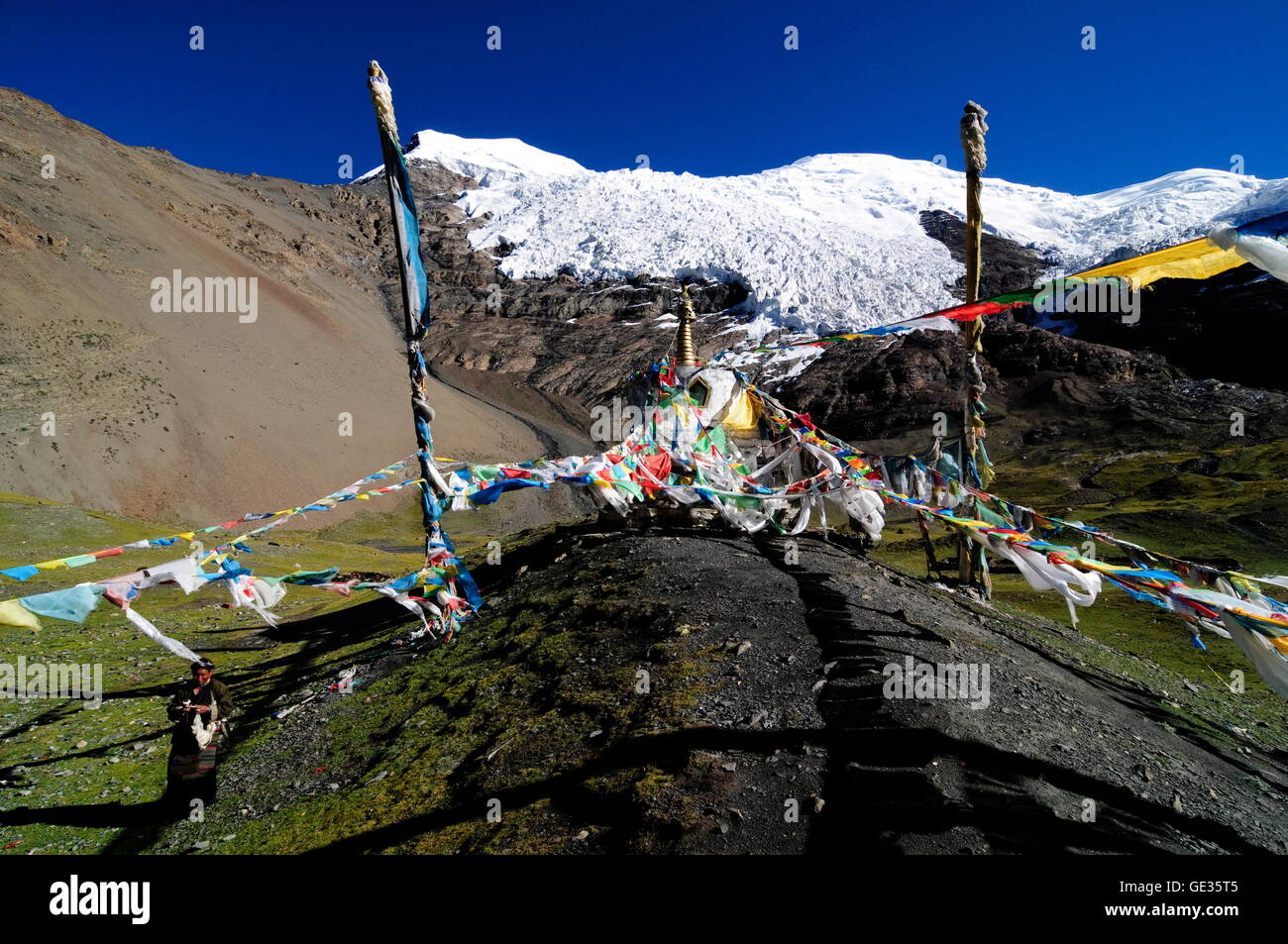 geography / travel, China, Tibet, Gyantse, prayer flags, Additional-Rights-Clearance-Info-Not-Available - Stock Image
