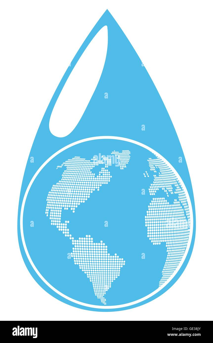 Globe inside water drop global warming background vector concept - Stock Vector