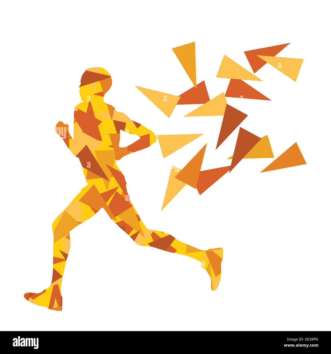 Marathon Runner Abstract Vector Background Concept Made Of Fragments For Poster