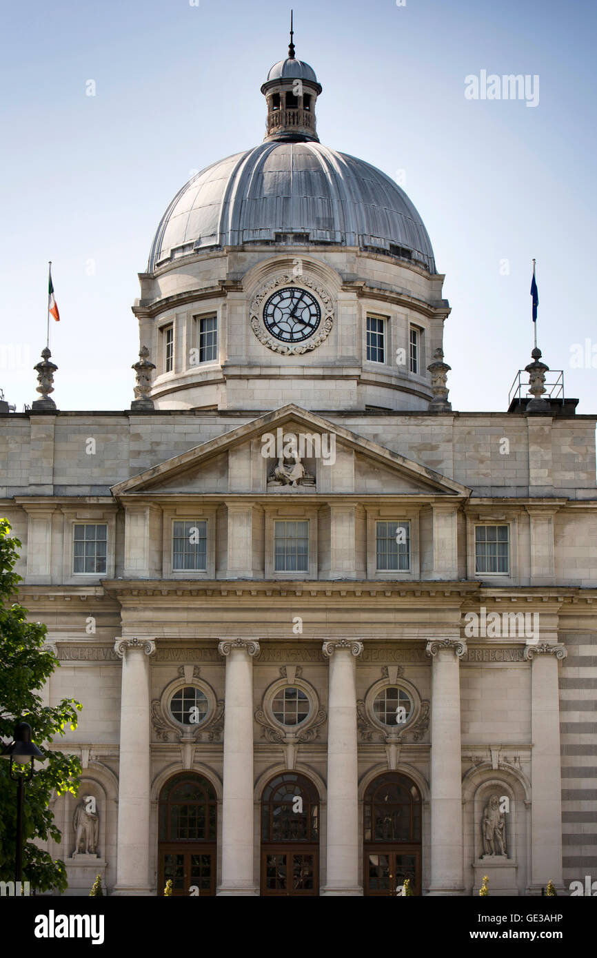 Ireland, Dublin, Merrion Street Upper, Dail Leinster House, Irish government, seat of parliament building Stock Photo