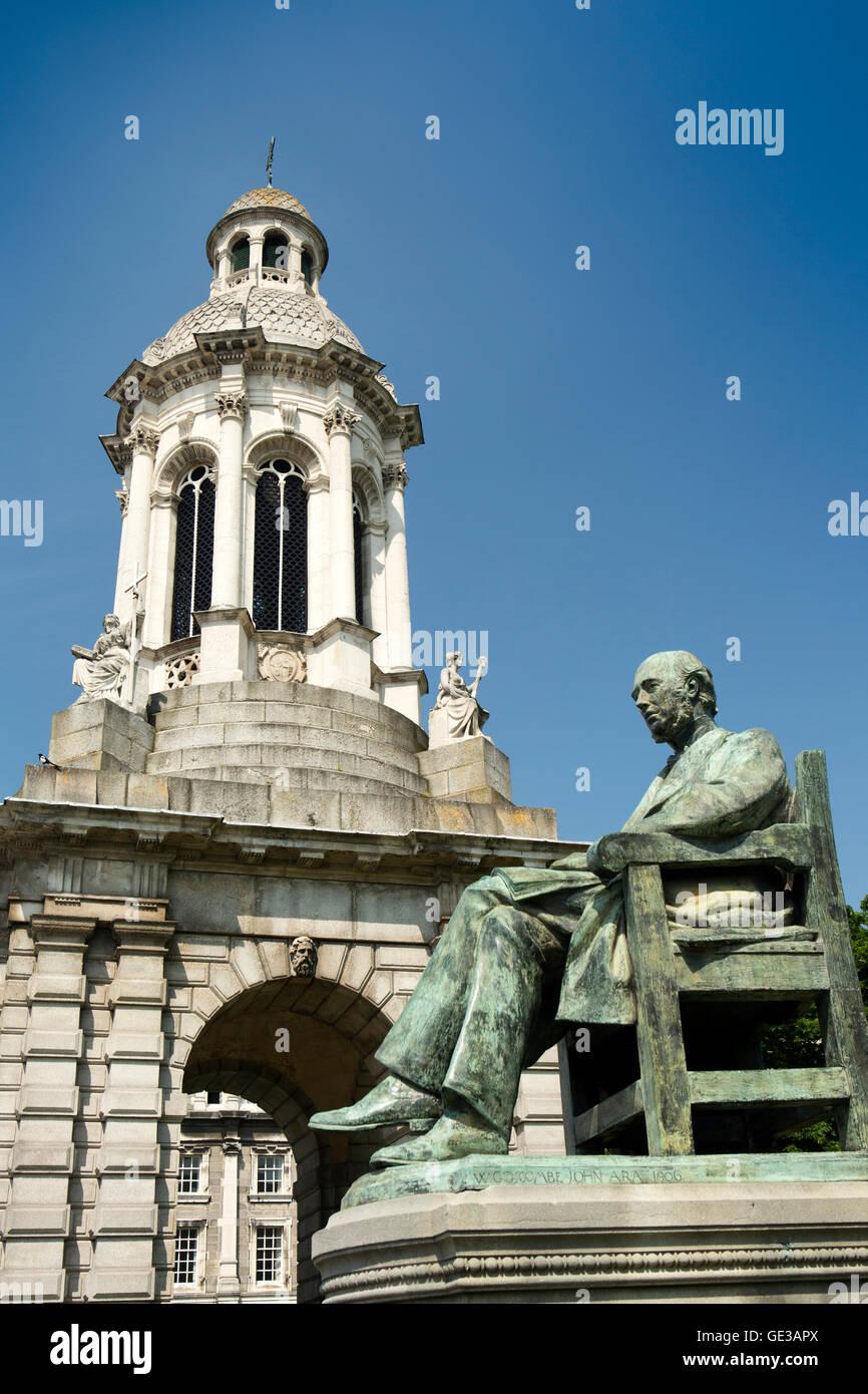 Ireland, Dublin, Trinity College, 1853 Campanile Bell tower & Irish Historian William Edward Hartpole Lecky Statue Stock Photo