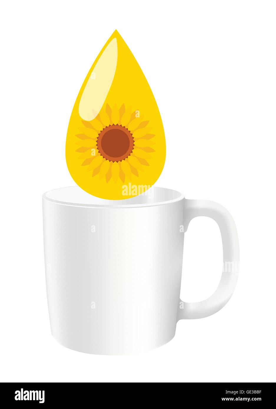 Sunflower seed oil drop vector background energy concept with catching cup - Stock Image