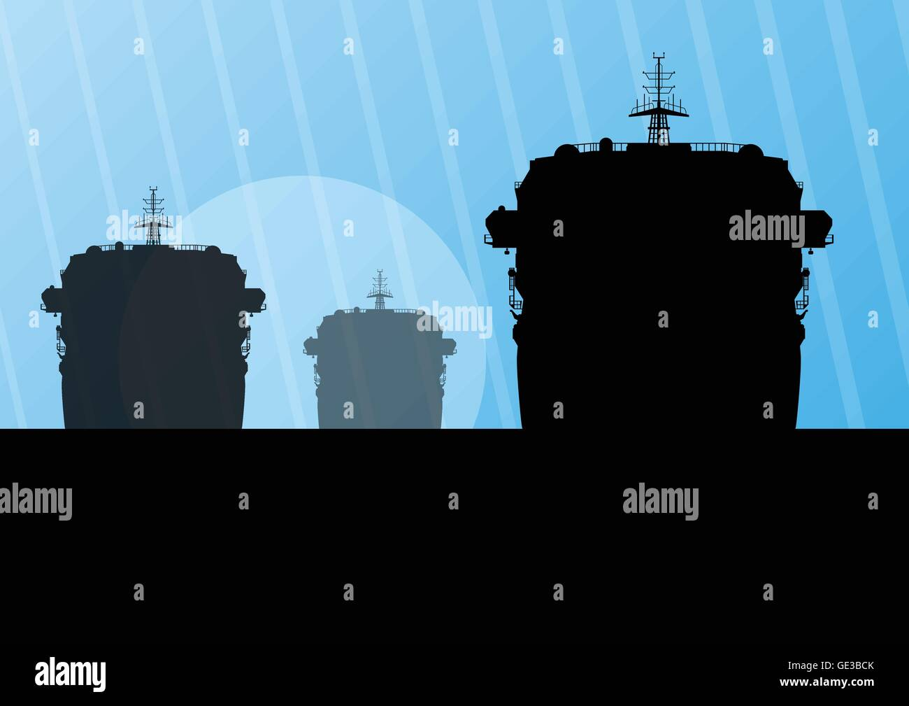 Navy military battleships with guns in ocean landscape background illustration vector - Stock Vector