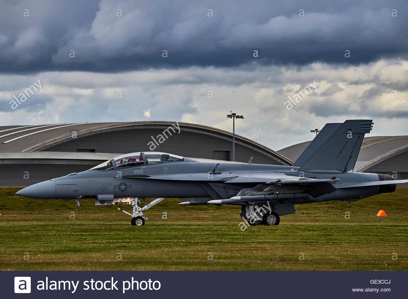 A Boeing F/A-18F Super Hornet at the 2016 Farnborough Air Show Stock Photo