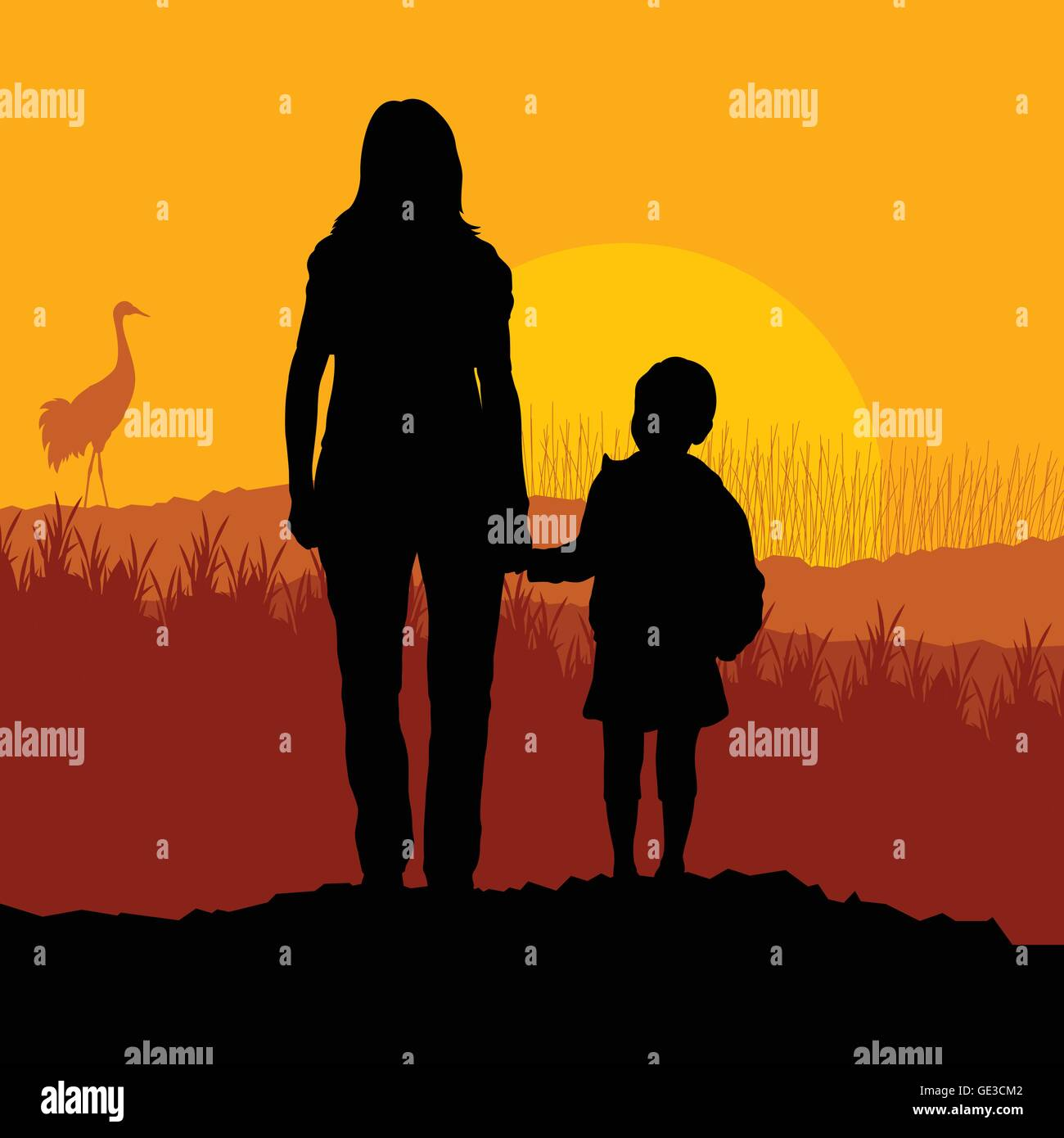 Mother with daughter landscape vector background - Stock Vector