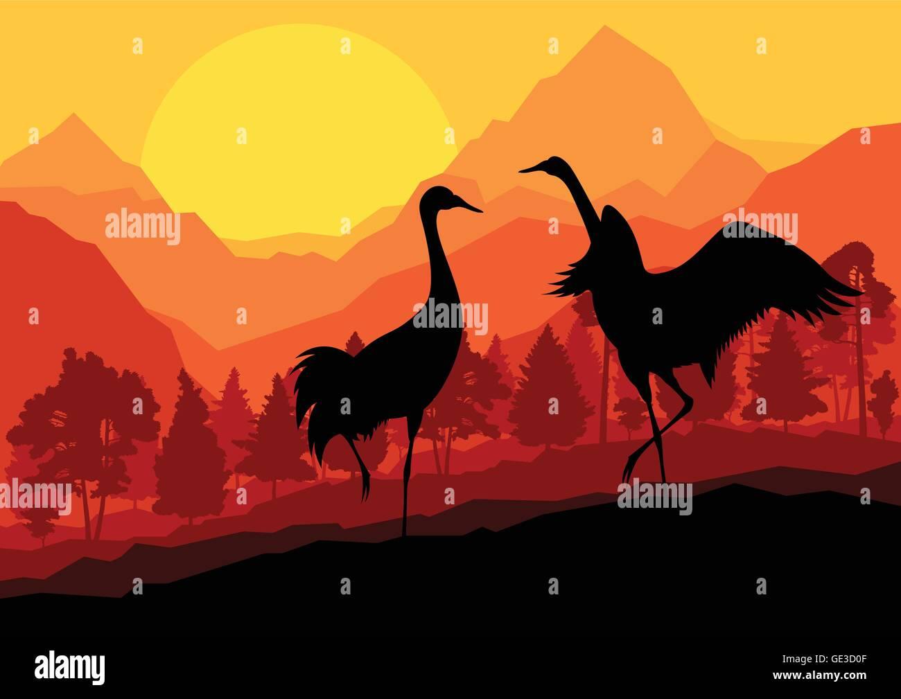 Crane couple in wild mountain nature landscape background illustration vector - Stock Vector
