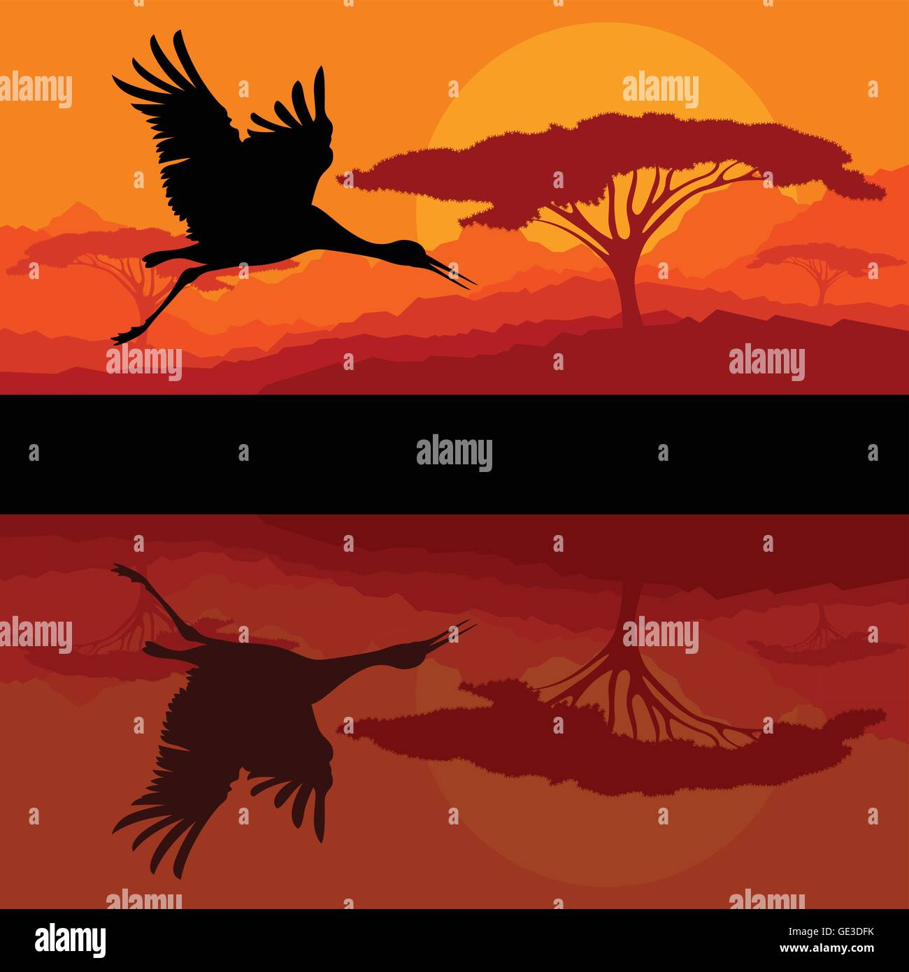 Crane flying in wild mountain nature landscape background - Stock Vector