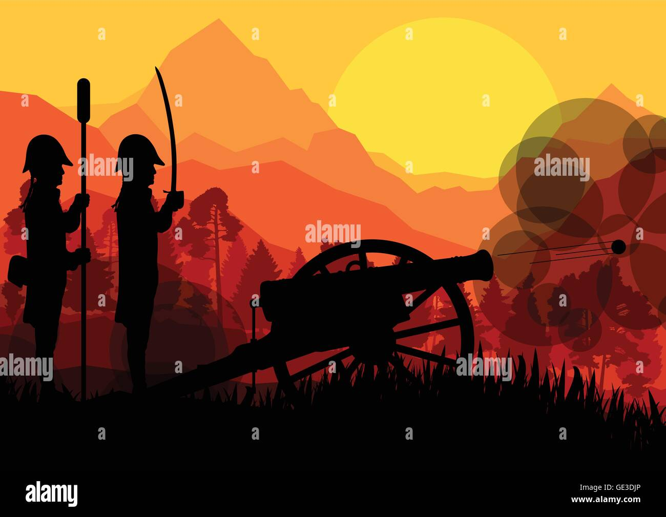 Vintage old civil war battle field warfare soldier troops and artillery cannon guns - Stock Vector