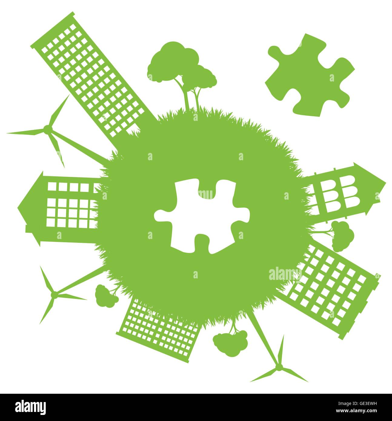 Green Planet Missing Piece Of Jigsaw Puzzle For Poster